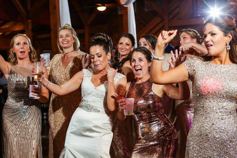 Jenny and bride's maids dancing Reception Kitty Hawk Wedding DJ Mar042017 CoastalShots
